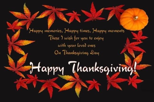happy thanksgiving wishing message
