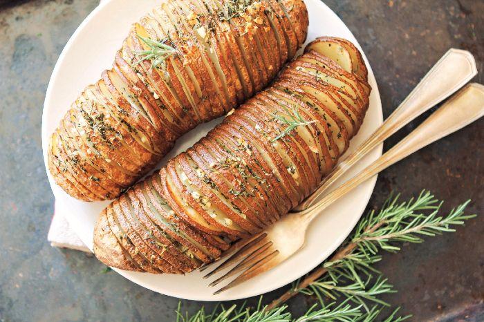 Cast-Iron Hasselback Potatoes - vegan thanksgiving potatoes recipes