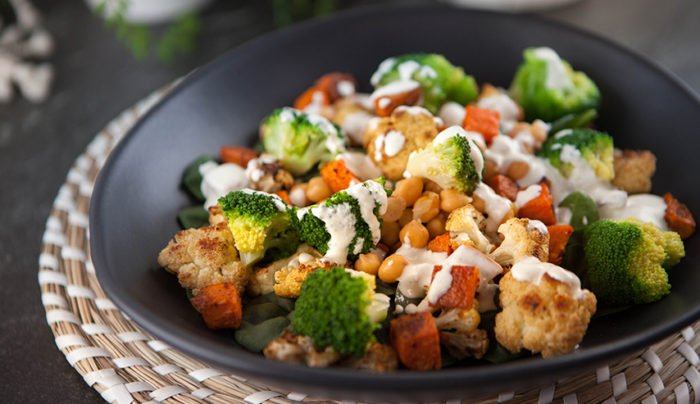 Sweet Potato and Cauliflower Salad - healthy thanksgiving salad recipes